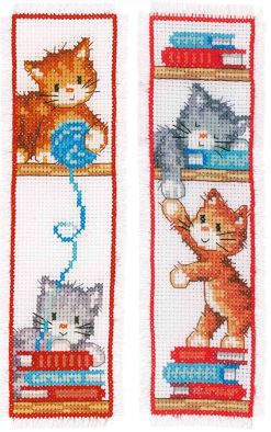 click here to view larger image of Playful Kittens Bookmarks (counted cross stitch kit)