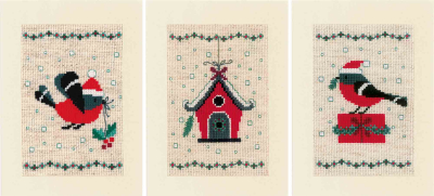 click here to view larger image of Christmas Bird and House - Greeting Cards   (counted cross stitch kit)