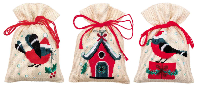 click here to view larger image of Christmas Bird and House Bags (set of 3) (counted cross stitch kit)
