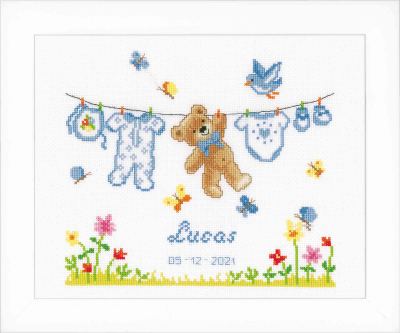 click here to view larger image of Birth Bear (counted cross stitch kit)