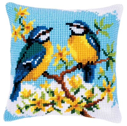 click here to view larger image of Blue Tits Cushion (counted canvas kit)