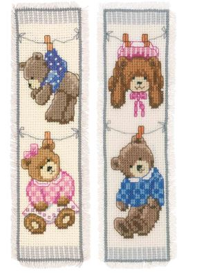 click here to view larger image of Birth Bears Bookmarks (counted cross stitch kit)
