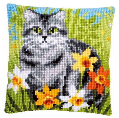 click here to view larger image of Cat Between Flowers Cushion (counted canvas kit)