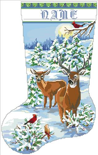click here to view larger image of Snowy Forest Evening Stocking (chart)