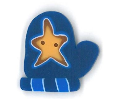 click here to view larger image of Large Blue Mitten w/Star Button (buttons)