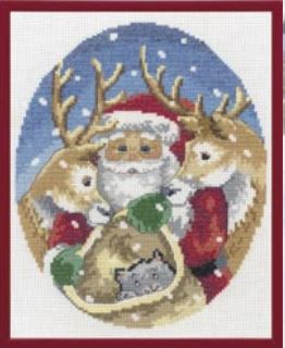 click here to view larger image of Santa w/Deer (counted cross stitch kit)