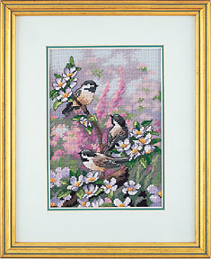click here to view larger image of Chickadees in Spring (counted cross stitch kit)