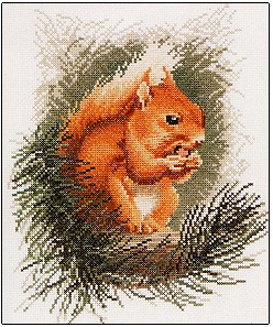 click here to view larger image of Red Squirrel - Wildlife (counted cross stitch kit)