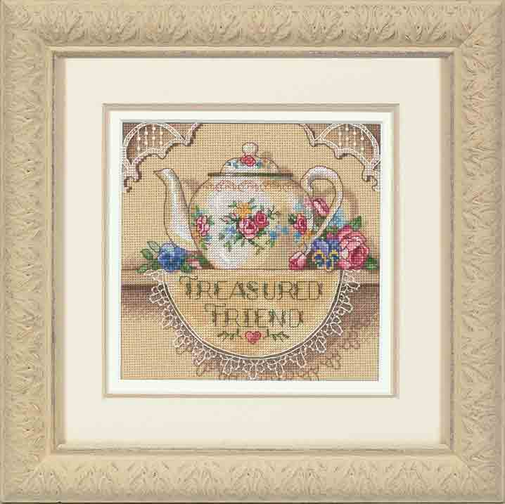 click here to view larger image of Treasured Friend Teapot (counted cross stitch kit)