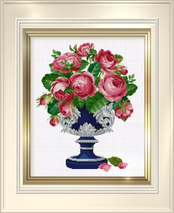 click here to view larger image of Roses in Blue / Silver Cup (chart)