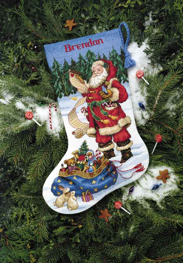 click here to view larger image of Checking His List Stocking (counted cross stitch kit)
