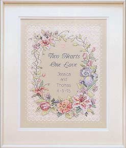 click here to view larger image of Two Hearts Wedding Record (stamped cross stitch kit)