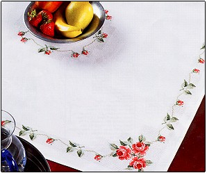 click here to view larger image of Pink Roses Tablecloth (counted cross stitch kit)