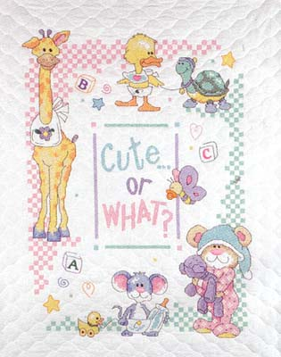 click here to view larger image of Cute Or What Baby Hugs Baby Quilt (stamped cross stitch kit)
