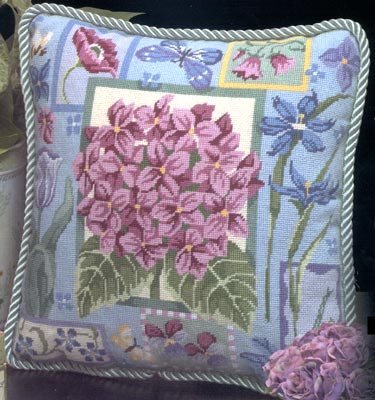 click here to view larger image of Hydrangea Needlepoint Pillow (needlepoint)
