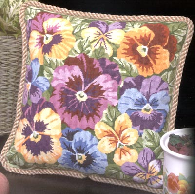 click here to view larger image of Pansies Galore (needlepoint)
