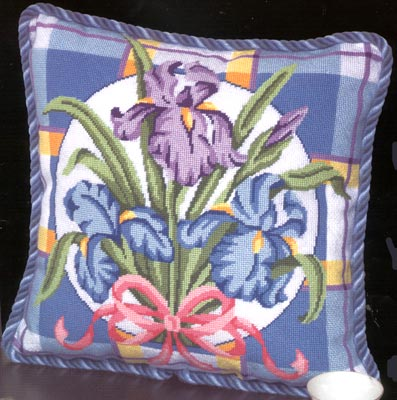 click here to view larger image of Iris on Plaid (needlepoint)