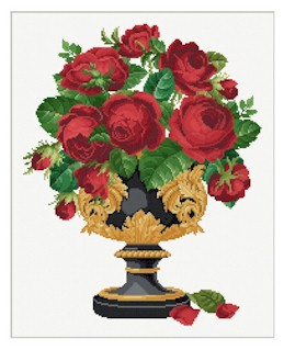 click here to view larger image of Roses in a Black/Gold Cup (chart)