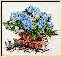 click here to view larger image of Blue Hydrangea In Basket - Aida (counted cross stitch kit)