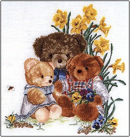 click here to view larger image of Teddy Bears and Flowers - Linen (counted cross stitch kit)