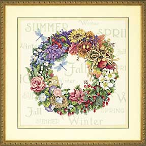 click here to view larger image of Wreath of all Seasons (counted cross stitch kit)