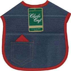 click here to view larger image of Denim Darlings Baby Bib - Red Binding (stitchable)