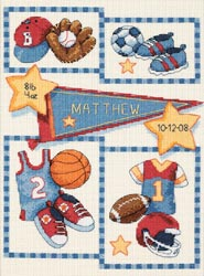 click here to view larger image of Little Sports Birth Record  (counted cross stitch kit)