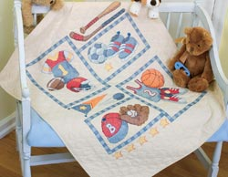 click here to view larger image of Little Sports Quilt (stamped cross stitch kit)