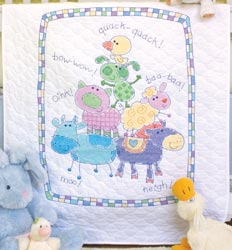 click here to view larger image of Farm Friends Quilt (stamped cross stitch kit)