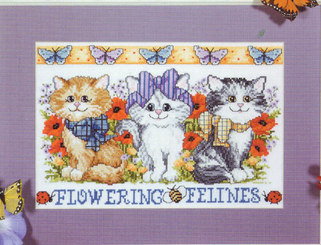 click here to view larger image of Flowering Felines (counted cross stitch kit)