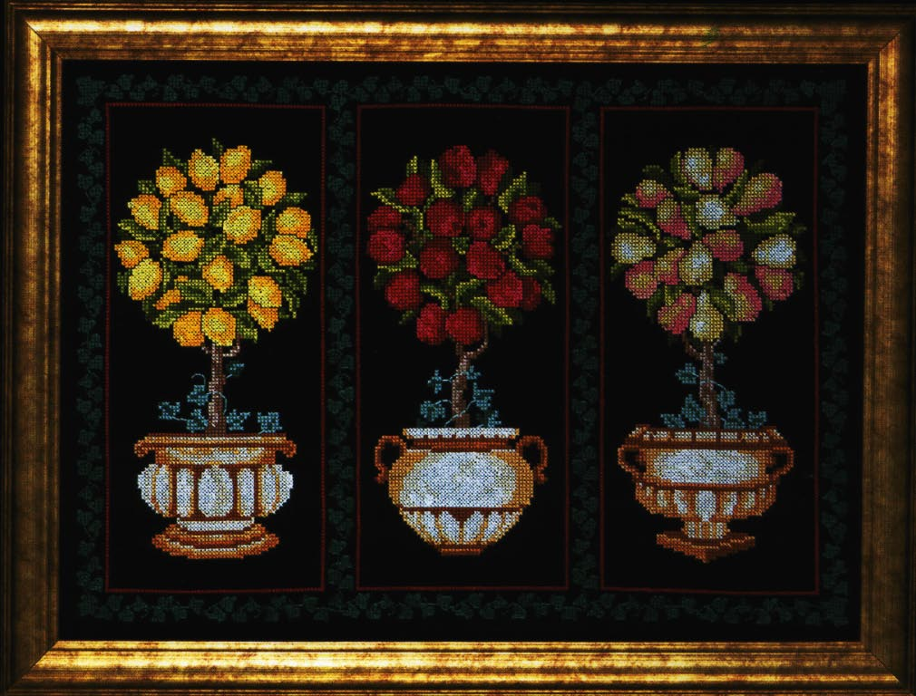 click here to view larger image of Topiary Trio (counted cross stitch kit)