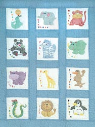 click here to view larger image of Zoo Animals Stamped Quilt Blocks (stamped cross stitch)