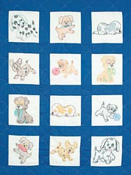 click here to view larger image of Puppies Stamped Nursery Quilt Blocks (stamped cross stitch)