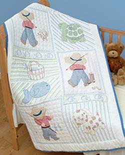 click here to view larger image of Little Boy Quilt Crib Top  (stamped cross stitch)