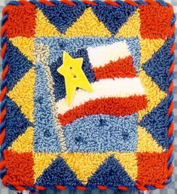click here to view larger image of  Flag Square  (Punchneedle w/ printed fabric) (Punchneedle)