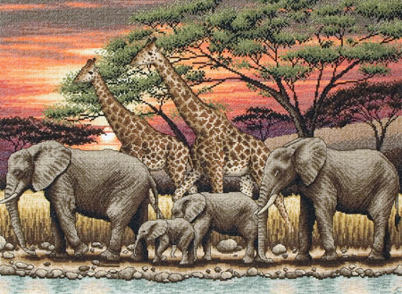 click here to view larger image of African Sunset (counted cross stitch kit)