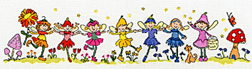 click here to view larger image of Row of Fairies (counted cross stitch kit)