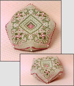 click here to view larger image of Cherry Blossoms Biscornu (counted cross stitch kit)