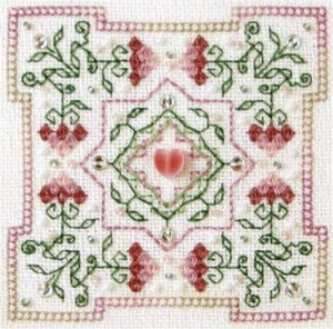 click here to view larger image of Strawberry Quilt Block (chart with charms/buttons)