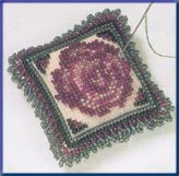 click here to view larger image of Beaded Pin Pillow - Vintage Rose (2003) (counted cross stitch kit)