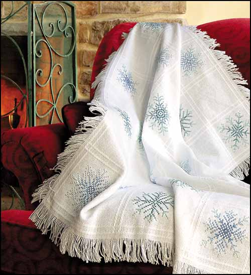 click here to view larger image of Evenweave Throw - White (stitchable)