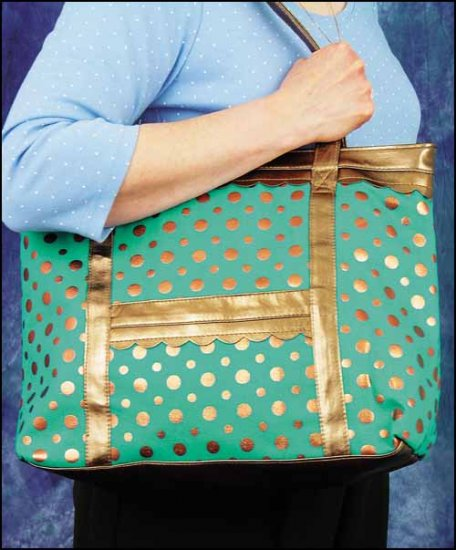 click here to view larger image of Jena Tote - Turquoise/Copper Dot (accessory)