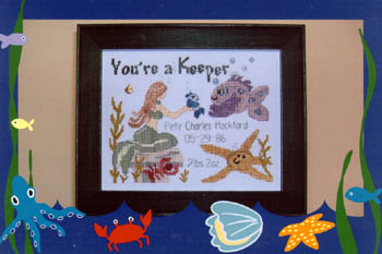 click here to view larger image of You're A Keeper-Boy (w/charm) (chart with charms/buttons)