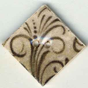 click here to view larger image of Taupe Flourish Diamond Button (buttons)
