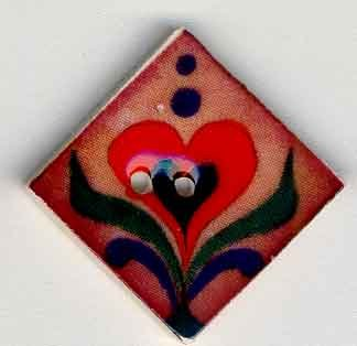 click here to view larger image of Red Heart on Terracotta Button (buttons)