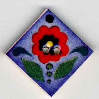 click here to view larger image of Red Flower on Blue (buttons)