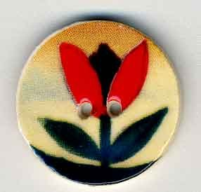 click here to view larger image of Red Tulip on Beige (buttons)