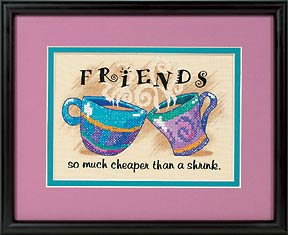 click here to view larger image of Cheaper Than A Shrink (stamped cross stitch kit)