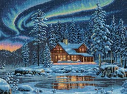 click here to view larger image of Aurora Cabin (counted cross stitch kit)