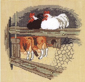 click here to view larger image of Chicken & Cows (counted cross stitch kit)